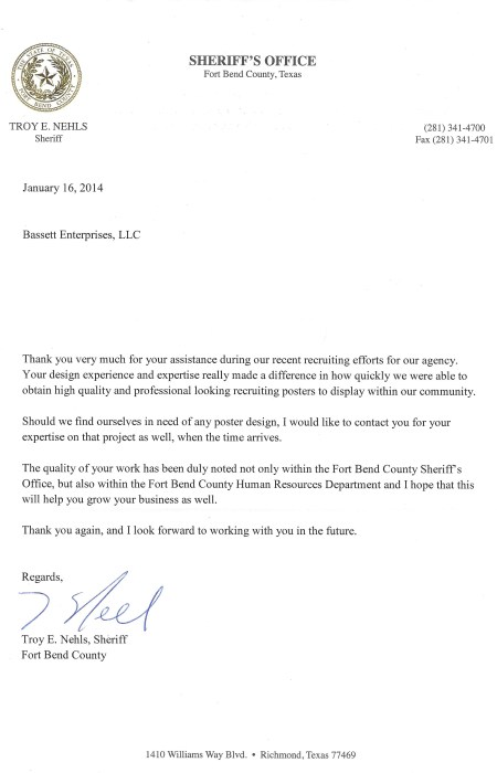 FORT BEND Sheriff's Letter