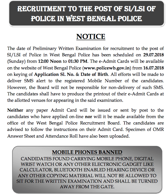 WB Police SI Admit Card Date Notice