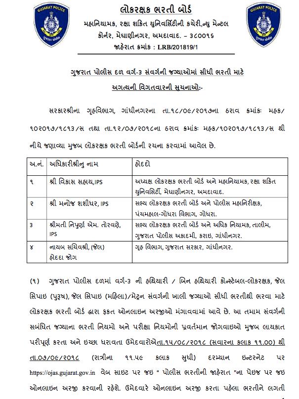 Gujarat Police Constable Bharti 2018 News Notification