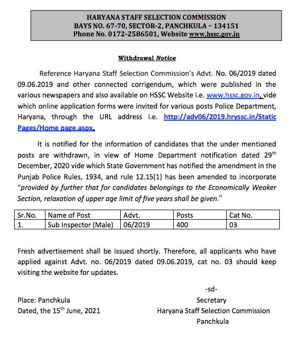 Haryana Police SI Notification 2021