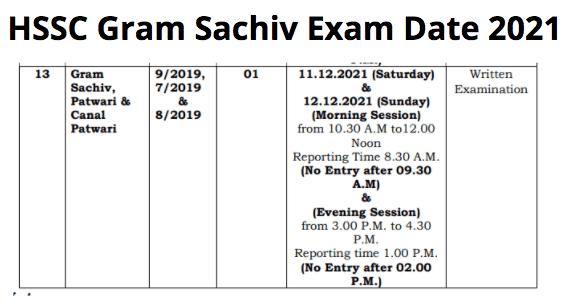 HSSC Gram Sachiv Exam Date 2021