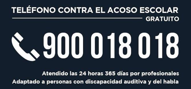 Teléfono gratuito contra acoso escolar