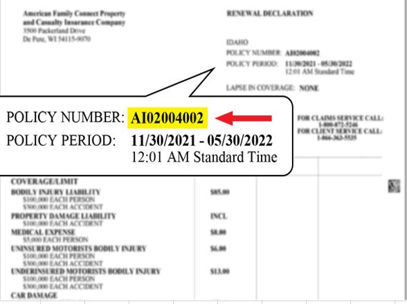 how to find policy number on insurance card