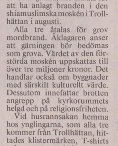 Sverigedemokraterna och moskébranden 1993