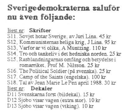 Sverigedemokraterna och 90-talets bokförsäljning