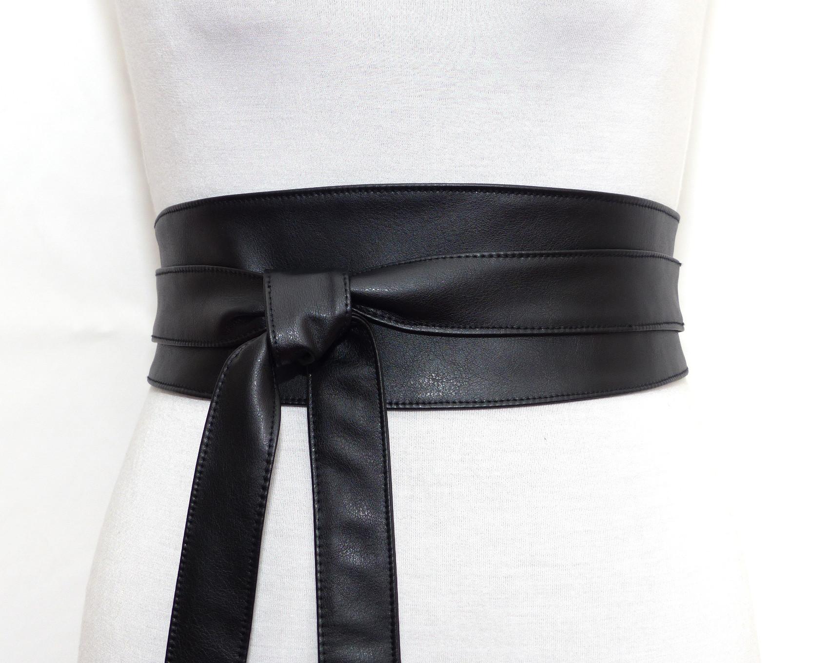Ceinture obi noire large à nouer, en simili cuir 8f6ff4e286c