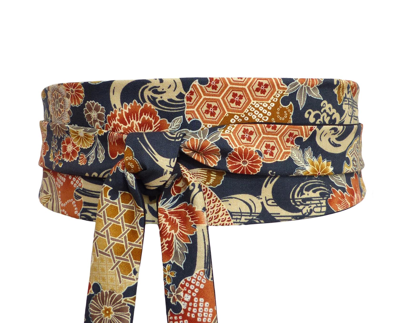 ceinture obi réversible en coton, uni anthracite et tissu japonais à motif  rouille, taupe a3d05cd2ddc