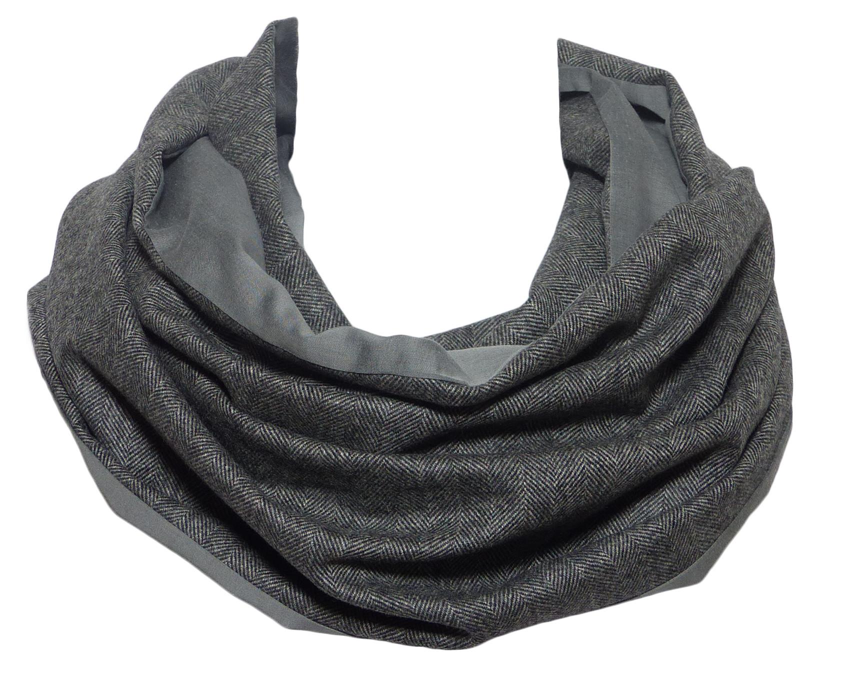 Echarpe double tour gris, réversible, en laine   cachemire pour la chaleur  et soie 04a4314695d