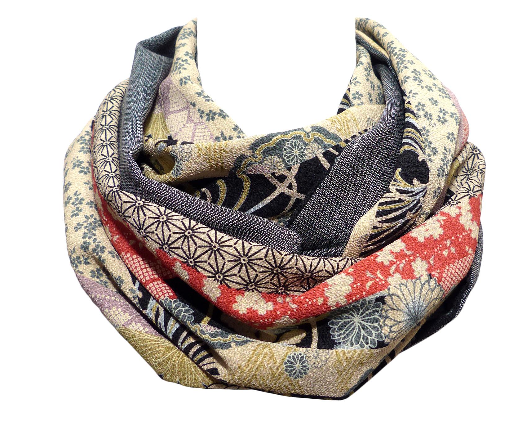 echarpe soie laine et tissu japonais patchwork