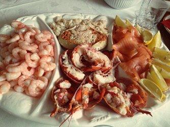 Seafood platter lobster smoked salmon crab prawns Polina Skrebneva blog