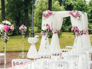 Ротонда на свадьбу розовая