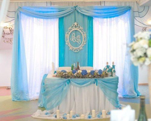 Свадебный стол в голубом цвете Долгопрудный