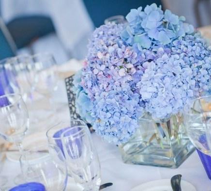 Свадьба в синем композиция на столы гостей