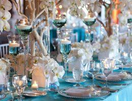 свадебный зал в голубом цвете