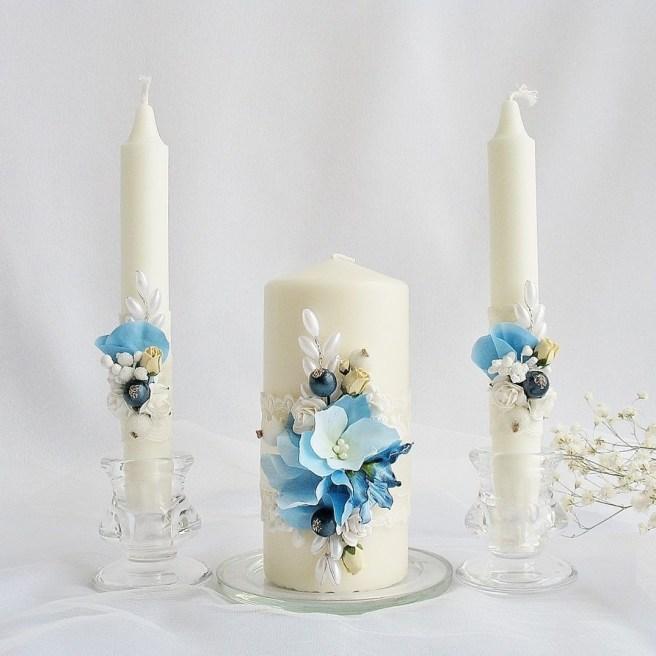 свечи декупаж для свадьбы в голубом цвете