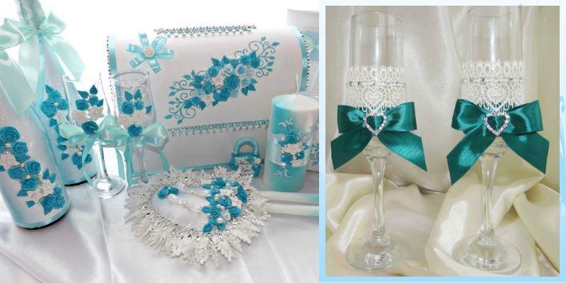 свадебные бокалы голубого цвета