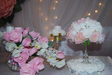 Топиарии розовые на свадьбу