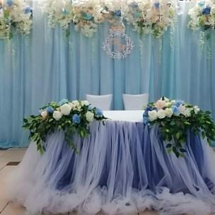 Стол на свадьбу в голубом цвете