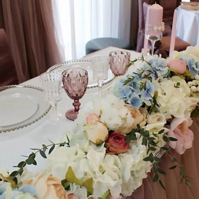 Свадебный стол оформление цветами