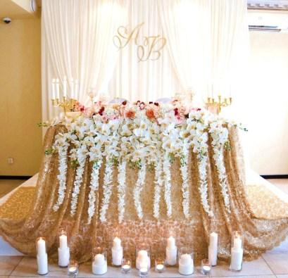 оформление свадебного стола в золотом цвете