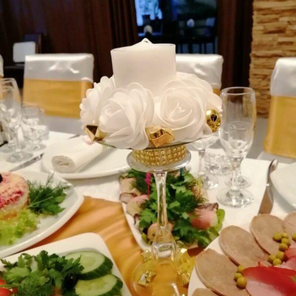 Украшение столов на свадьбу свечами