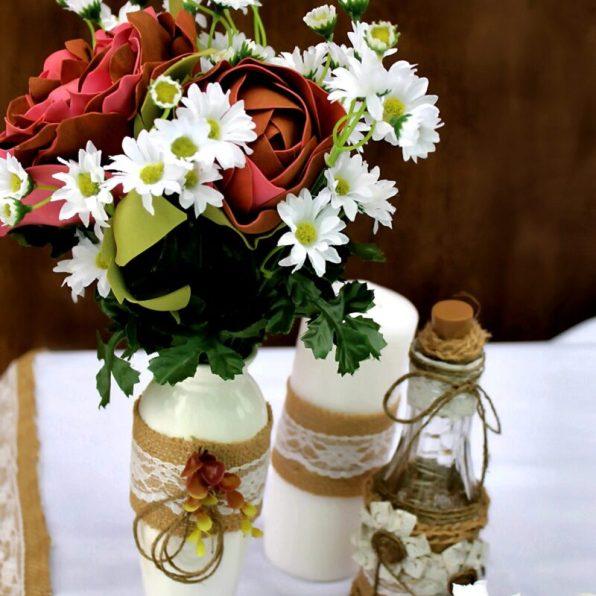Вазы на свадебный стол в рустик стиле