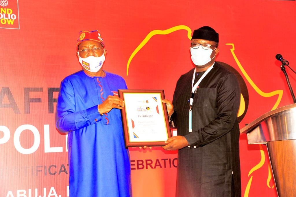 Presentation of Certificate  to Dr Kayode Fayemi, Chairman Nigeria Governors' Forum,