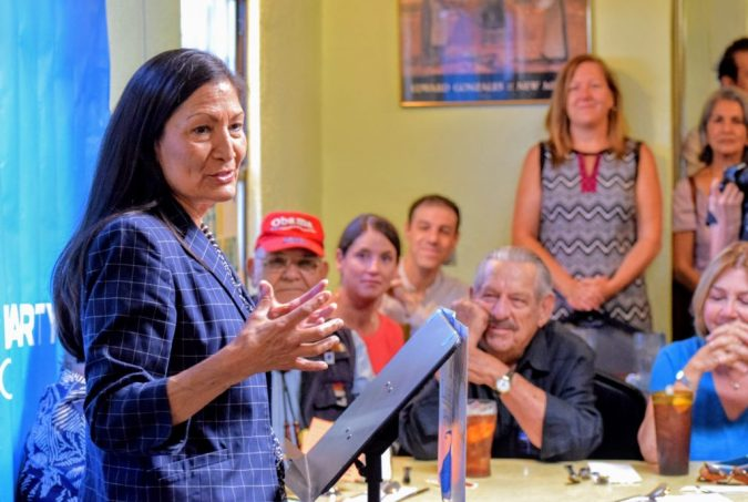 Deb Haaland speaks at the Democratic Party of New Mexico's Unity Breakfast following a primary win for her in New Mexico's 1st Congressional District. Barelas Coffee House, June 6, 2018.