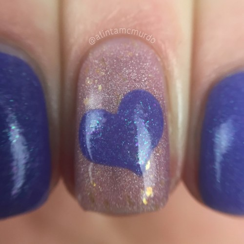 Wear It Purple Day Nails using Powder Perfect Lorelei and Sugar & Spice - Polish and Paws