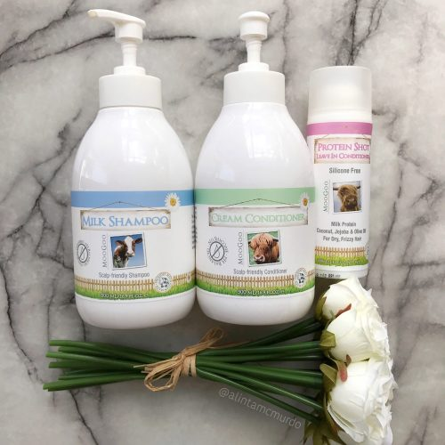 MooGoo Hair Care Review - Milk Shampoo, Cream Conditioner and Protein Shot Leave-In Conditioner - Polish and Paws