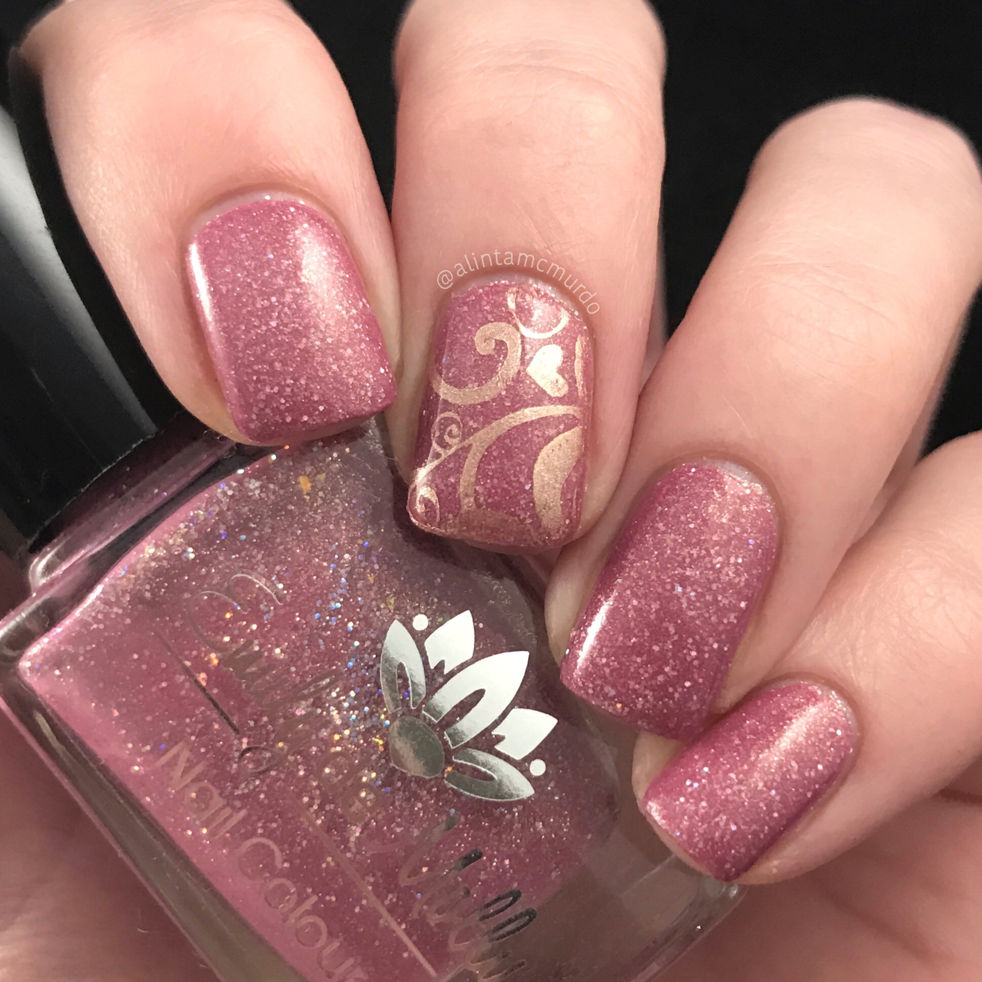 Pink nails with rose gold nail stamping - Polish And Paws