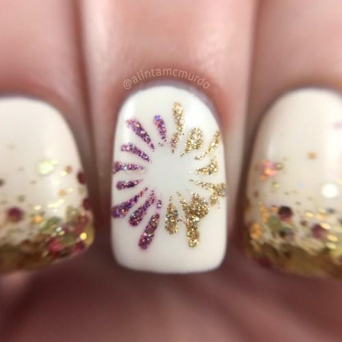 Microglitter firework nail art