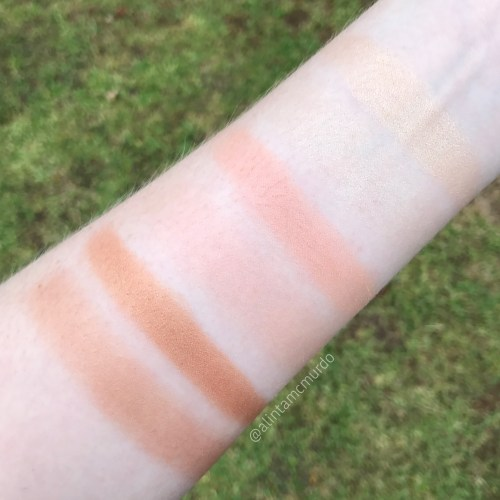 L-R rush and finger swatches of Betty-Lou, Cindy-Lou and Mary-Lou from the Manizer Sisters Palette in natural light