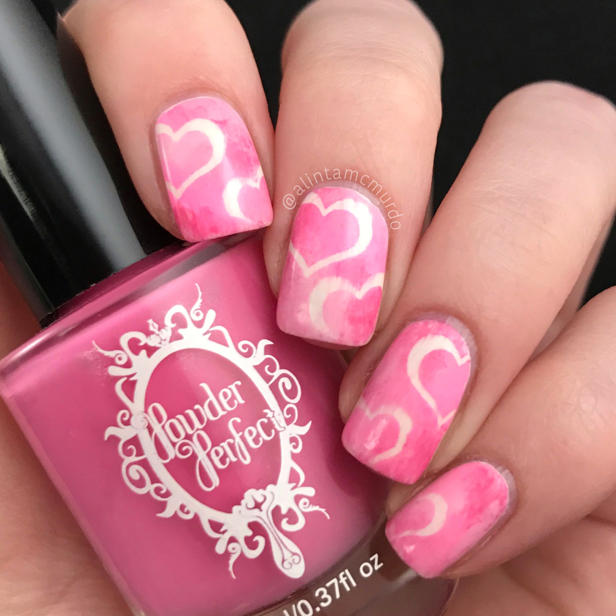 Valentine\'s Day Nails: Pink Sponged Hearts - Polish And Paws
