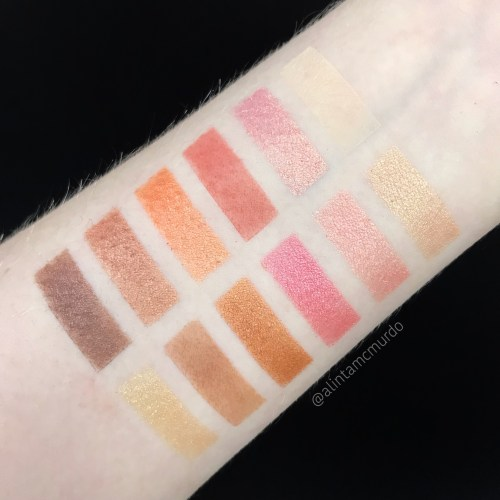 BYS Peach eyeshadow palette swatch starting with Brazen and Flashy on the left through to Dainty and Dazzling on the right