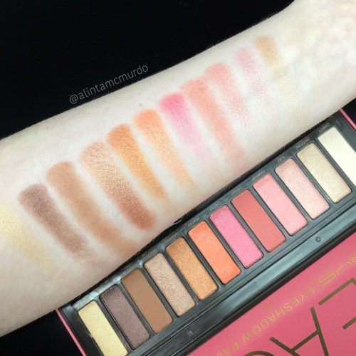 BYS Peach eyeshadow palette swatch starting with Flashy on the left through to Dainty on the right (Dainty is hard to see as it's my skin colour)