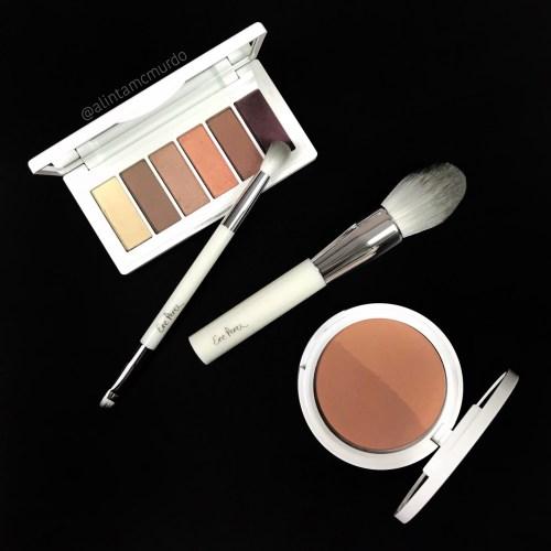 Ere Perez eyeshadow palette, bronzer/blush and brushes