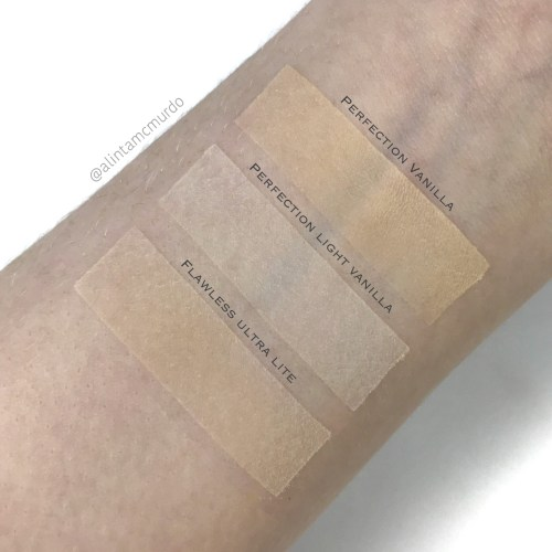 Swatches of the Eco Minerals Flawless Mineral Foundation in Ultra Lite and the Perfection Mineral Foundation in Light Vanilla and Vanilla