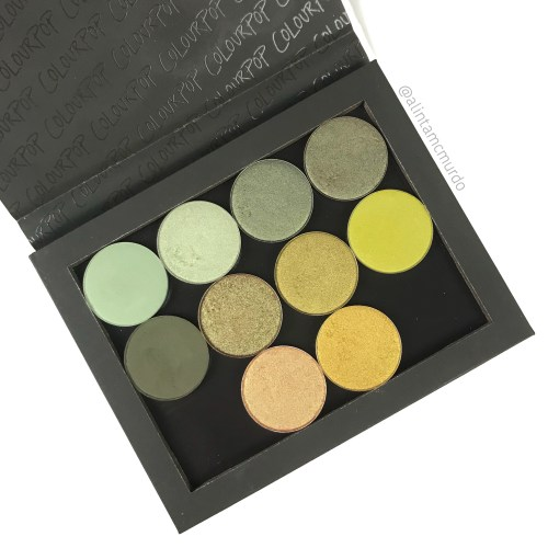 Colourpop green pressed powder single eyeshadows - First row - Checkmate, La Playa, Up and Up, Sideline. Second Row -Team Captain, Tea Garden, Rose All Day, Deja Boo. Third Row -Play By Play, Rascal.