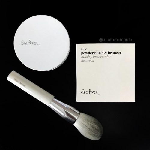 Ere Perez Rice Powder Blush and Bronzer in Roma with Eco Vegan Blush and Bronze Brush