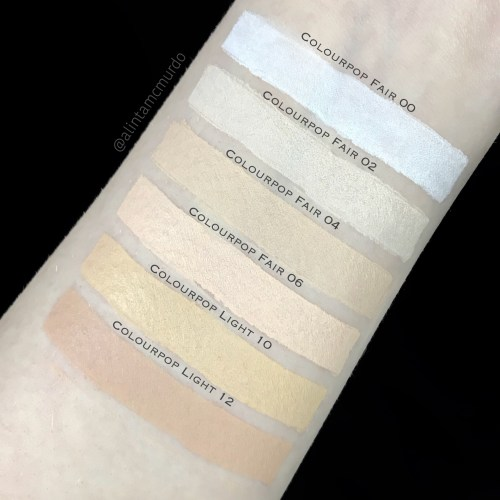 Colourpop concealer comparison - top to bottom - Fair 00, Fair 02, Fair 04, Fair 06, Light 10 (previously Fair 5) and Light 12 (previously Fair Neutral 10)