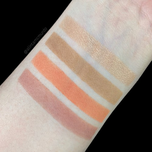 Makeup Geek Fair Lady Flawlessly Full Face Palette swatches - Top to bottom: Radiant, Betrayal, Flirt and A'mour - cruelty free and vegan - Polish and paws cruelty free beauty blog