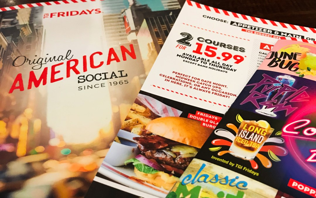 TGI Fridays 2 courses for 15.99
