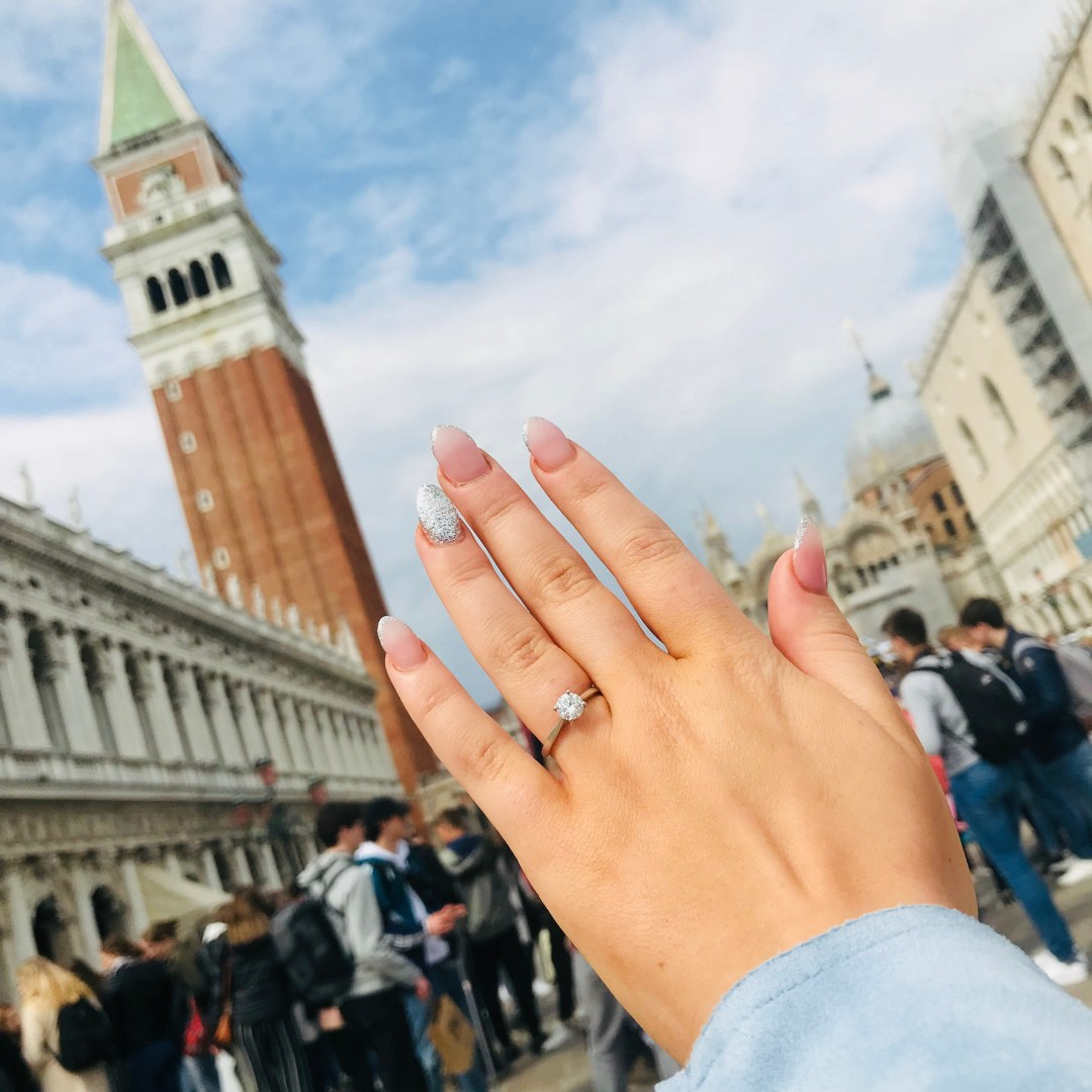 engaged in venice bell tower