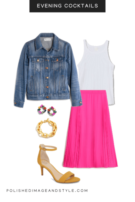 pink skirt styled for evening cocktails