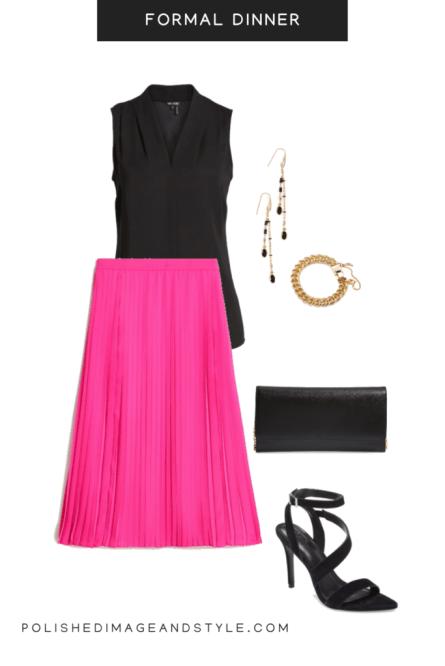pink skirt styled for a formal dinner