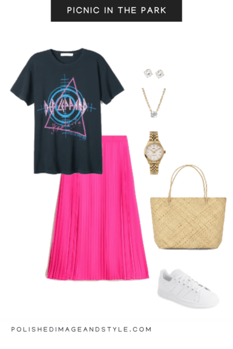 pink skirt styled for a picnic in the park