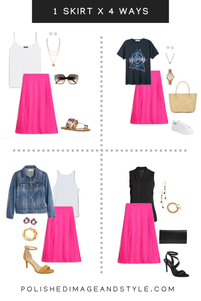 Women's pink skirt styled 4 ways for Summer