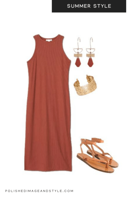 Brown summer dress styled