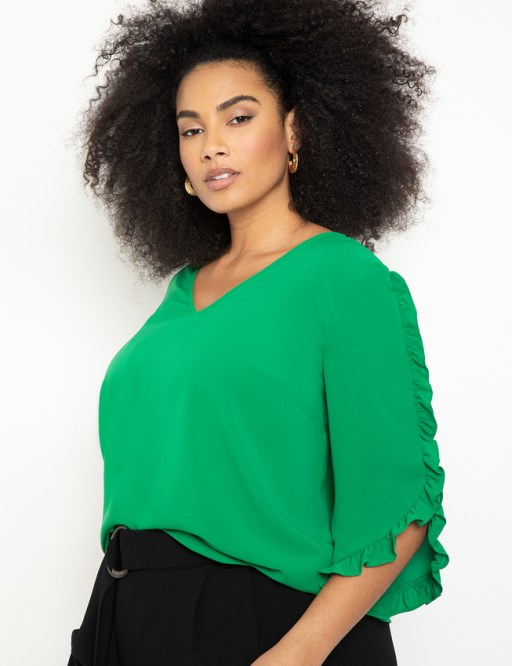 Eloquii - green 3/4 sleeve top with ruffle detail